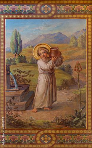 Fototapeta Vienna - Fresco of little Jesus as well of water of life