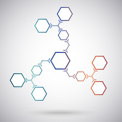Communication concept of the ten hexagonal cells. gradient