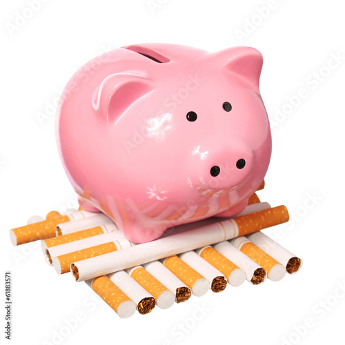 Poster Piggy Bank and Cigarettes isolated on white. Concept of Savings