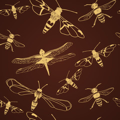 Seamless pattern of  gold dragonfly and bee. Vector illustration