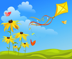kite, flowers on bright background