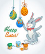 Easter card with bunny decorating eggs