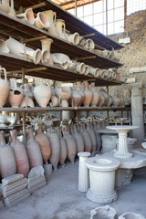 old pots in outside collection at pompei, pompeii, italy
