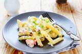 pasta with cheese sauce and salmon