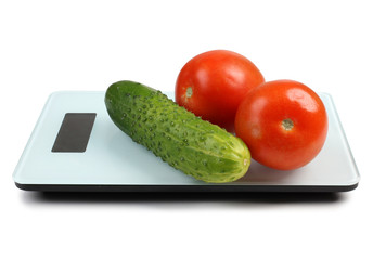 Vegetable on electronic scales