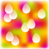 colorful blurred background with transparent easter eggs