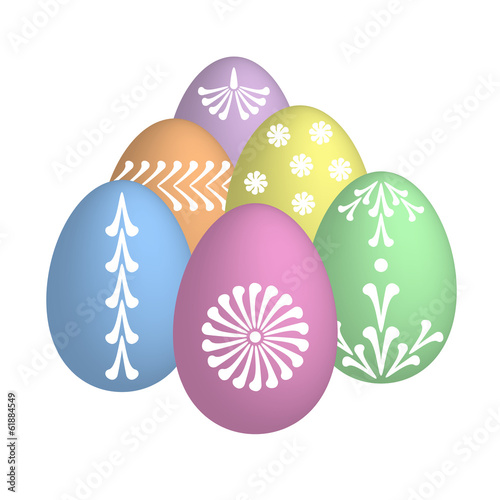 easter eggs with floral motive in pastel colors
