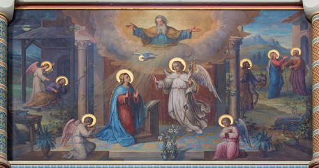 Vienna - Annunciation fresco in Carmelites church