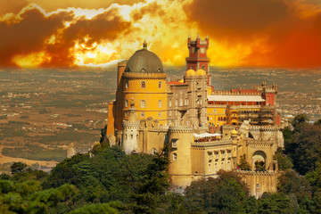 Aerial view of Palace da Pena. Sintra, Lisbon. Portugal.