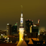 Night illumination cityscape of Tallinn city Estonia