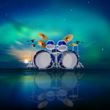 abstract music background with sunrise and drum kit