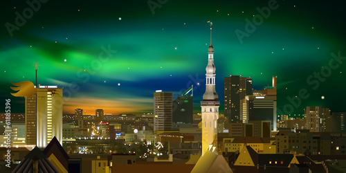 Night illumination cityscape of Tallinn