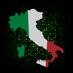 Italy map flag on hex code illustration