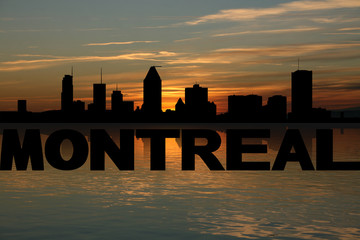 Montreal skyline reflected with text and sunset illustration