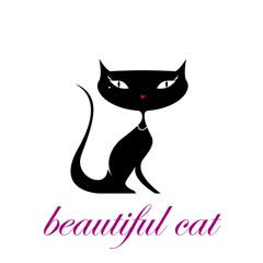 Vector logo beautiful cat