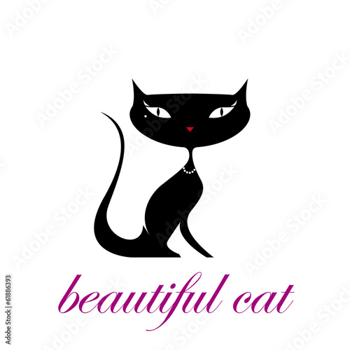 Vector logo beautiful cat