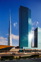 Burj Khalifa as seen from Sheikh Zayed Road in Dubai, UAE