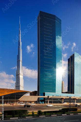 Aluminium Dubai Burj Khalifa as seen from Sheikh Zayed Road in Dubai, UAE