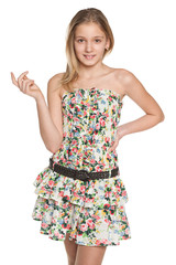 Fashion smiling preteen girl
