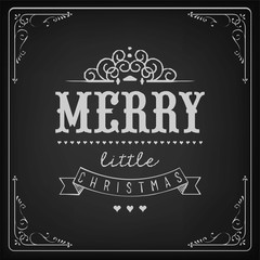 Christmas Background With Typography On Blackboard