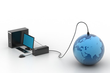 Network Concept - LCD monitor connected to Earth