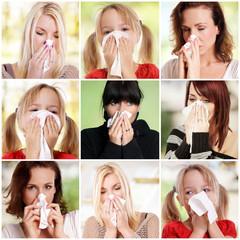 Schnupfen Allergie Krank Collage