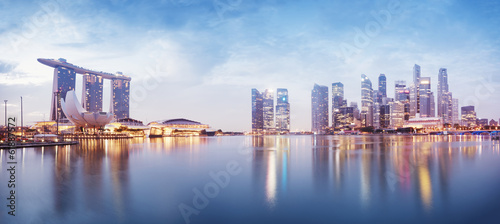 Foto op Canvas Singapore Panoramic image of Singapore`s skyline at night.