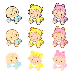 Babies are going forward gear. Home and Family Character Design