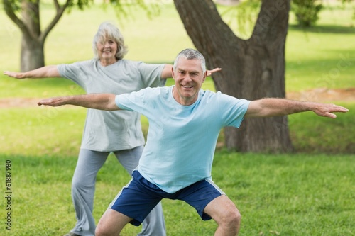 Smiling mature couple exercising at park