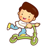 Son Mascot riding Kickboard. Home and Family Character Design Se