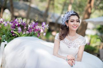 pretty girl in wedding dress
