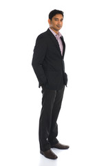 serious indian male business man with isolated white background