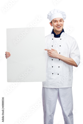 chef with billboard