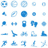 vector set of 25 blue sport icons