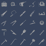 vector set of 25 grey work  tool icons