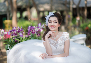pretty girl in wedding dress