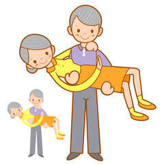 Grandfather hugging his wife with both hands. Home and Family Ch