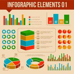 Retro Infographics Elements Set. Information and Ring Chart
