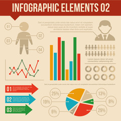 Retro Infographics Elements Set 2. Information and Ring Chart