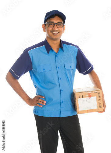 indian delivery man in blue uniform