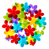 Color flowers silhouettes for Your design