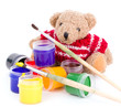 Teddy Bear painter isolated on white