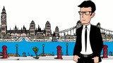 London city cartoon drawing english businessman