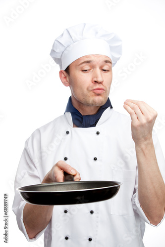 chef with pan in uniform