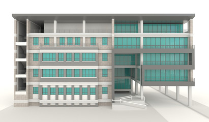 3D condominium architecture exterior design in white background