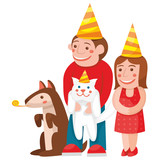 children and animals celebrate