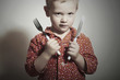 Little Boy with Fork and Knife.Hungry Child Want to eat