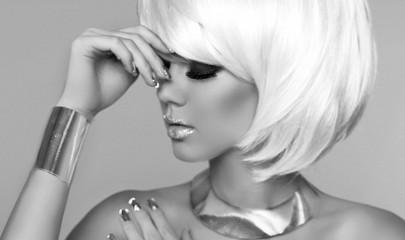 Fashion Blond Girl. Beauty Portrait Woman. Makeup. White Short H