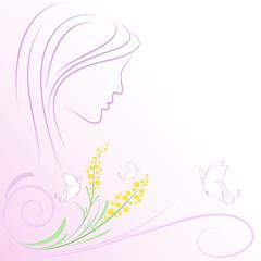 sfondo viso farfalle e mimose