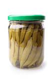 Preserved okra in glass jar